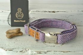 Lavender Harris Tweed Dog Collar